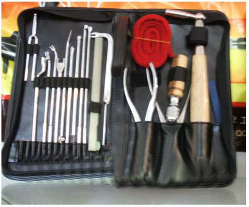 Complete piano tuning tool kit with 19 pieces